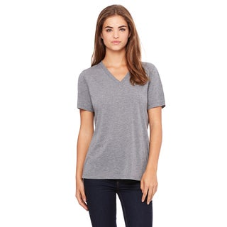 Missy's Girl's Grey Relaxed Jersey Tri-blend Short-Sleeve V-Neck T-Shirt