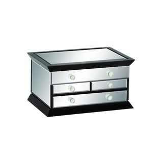 Silver Glass/MDF Mirrored Jewelry Box