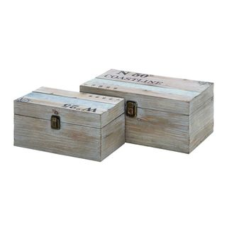 Coastal Living Wood and Metal 11-inch/14-inch Decorative Storage Box (Set of 2)
