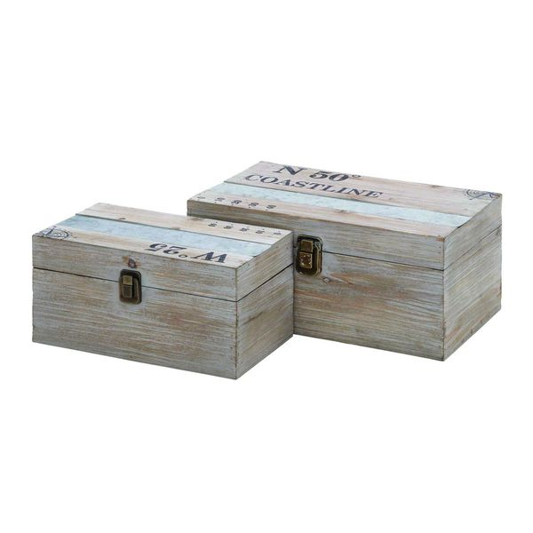 Decorative Boxes Storage: Coastal Living Wood And Metal 11-inch/14-inch Decorative