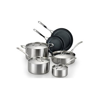 Lagostina Axia 10-piece Silver Stainless Steel Nonstick Cookware Set