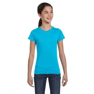 Fine Girl's Aqua Cotton and Polyester Jersey T-shirt