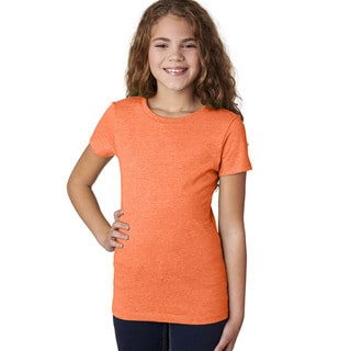 Next Level Girls' The Princess CVC Neon Heather Orange T-Shirt (60/40)