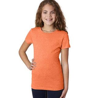 Next Level Girls' The Princess CVC Neon Heather Orange T-Shirt (60/40)