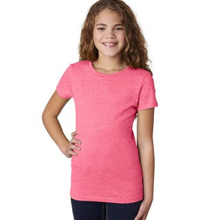 Next Level Girl's The Princess Neon Heather Pink CVC T-Shirt (60/40)
