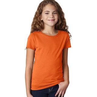 Next Level Girls' The Princess CVC Orange T-Shirt