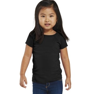 Fine Girls' Black Jersey Longer Length T-shirt