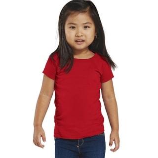 Fine Girl's Red Cotton Jersey Longer-length T-shirt