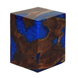 Teak Blue Resin Foot Stool