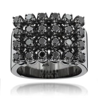 Luxurman Black Rhodium-plated 14k Gold Men's 1 4/5ct TDW Black Diamond Ring