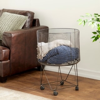 Grey Iron 28-inch High x 20-inch Wide Wire Storage Hamper With Casters