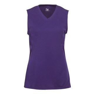 B-Core Performance Girls' Solid Purple Polyester Lap-neck Sleeveless T-shirt