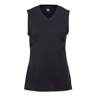 B-Core Performance Girl's Solid Black Color Lap-neck Sleeveless T-shirt
