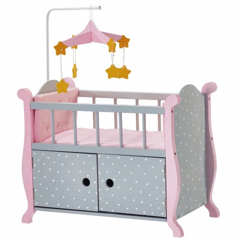 Olivia's Little World Baby Doll Furniture Nursery Crib Bed with Storage in Grey Polka Dots