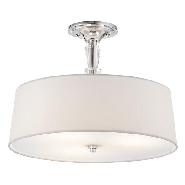 Kichler Lighting Crystal Persuasion Collection 3 Light Chrome Semi Flush Mount Free Shipping