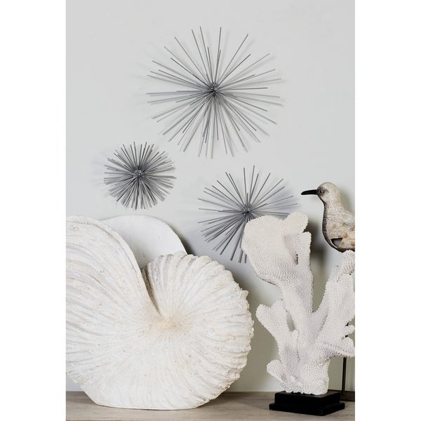 """Contemporary Style 3D Round Silver Metal Starburst Wall Decor Sculptures Set of 3 - 6"""", 9"""", 11"""". Opens flyout."""