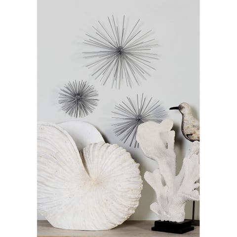 """Contemporary Style 3D Round Silver Metal Starburst Wall Decor Sculptures Set of 3 - 6"""", 9"""", 11"""""""
