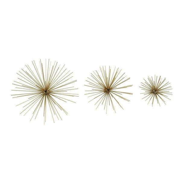 6 Inches/9 Inches/11 Inches Wide S/3 Star Metal Goldtone Wall Art