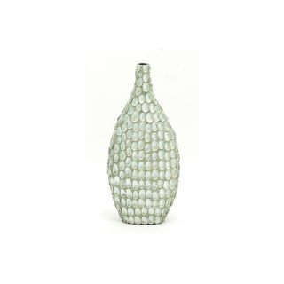 White/Tan Ceramic Seashell Table Vase
