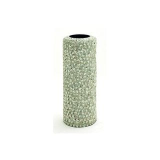 Iridescent Ivory Wood 13-inch Wide x 36-inch High Seashell Cylinder Vase