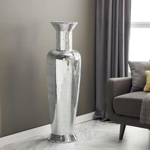 Mirrored Mosaic Polystone and Fiberglass 50-inches High x 14-inches Wide Striated Tapered Urn Floor Vase