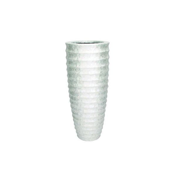 White Glass/Polystone/Capiz Shell 20-inch Wide x 48-inch High Vase