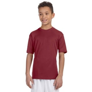 Boy's Maroon Polyester Athletic Sport T-shirt