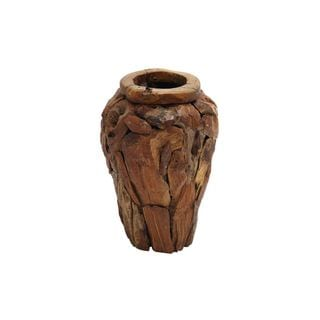 Teak Wood 14-inches Wide x 20-inches High Vase