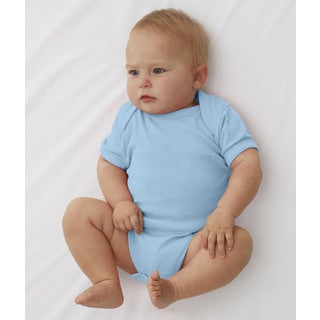 Baby Rib Lap Shoulder Light Blue Infant Bodysuit