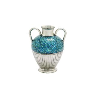 Old World Charm Mosaic Turquoise Silvertone Metal 22-inches High x 18-inches Wide Brushed Tile Vase
