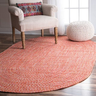 nuLOOM Handmade Casual Solid Braided Oval Rug (5' x 8' Oval)