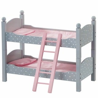 Olivia's Little World Double Bunk Bed 18-inch Doll Furniture in Grey Polka Dots
