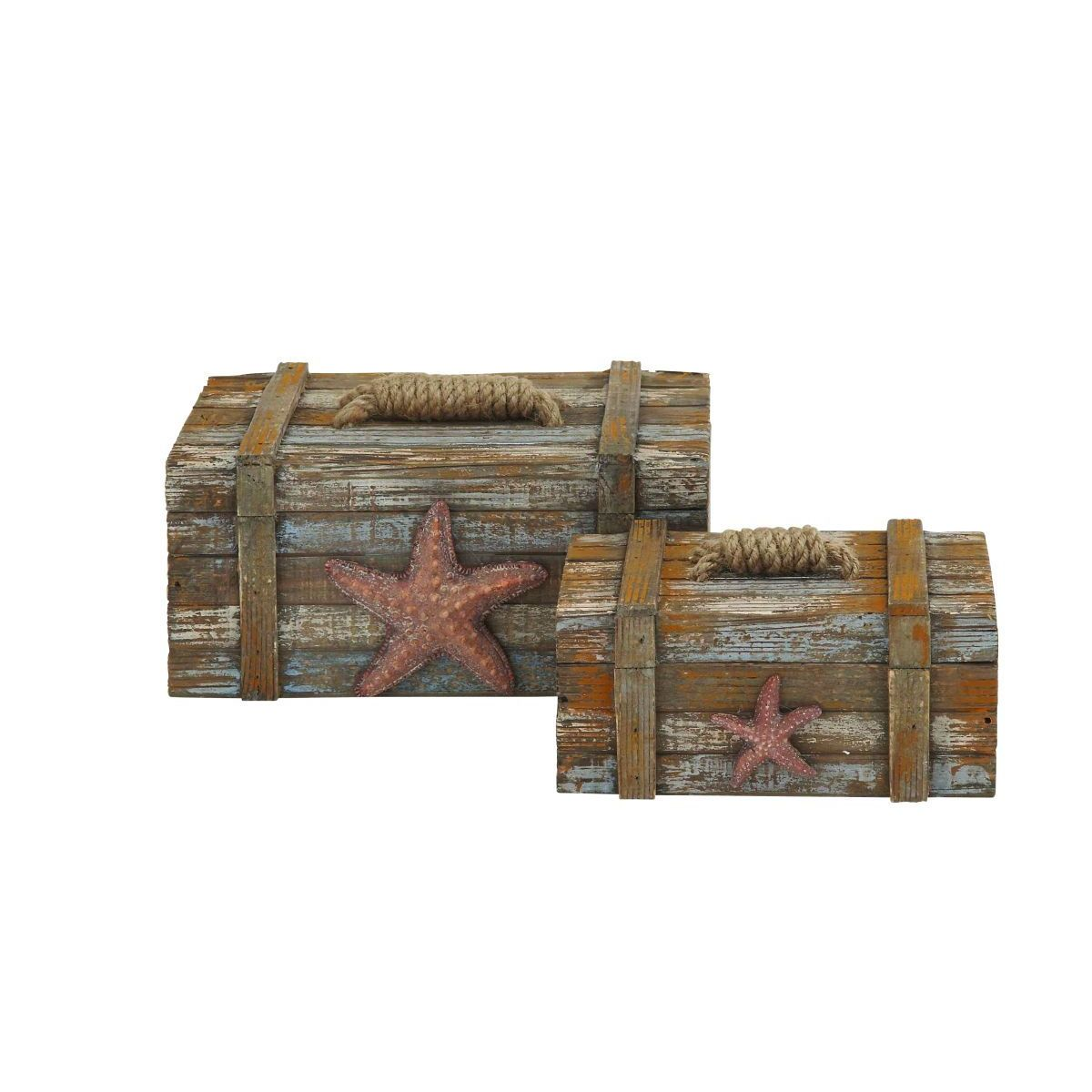 Faux Rustic Nautical-themed Storage Boxes with Jute Rope Accents  sc 1 st  Overstock.com : faux storage box  - Aquiesqueretaro.Com