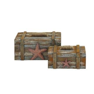 Faux Rustic Nautical Themed Storage Bo With Jute Rope Accents