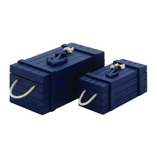 Blue Wooden Decorative Rope Box (Set of 2)