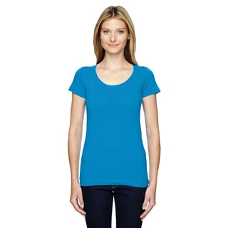 Juniors' Cobalt Fine Jersey Deep Scoop-neck Longer-length T-shirt