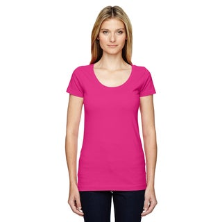 Juniors' Hot Pink, Fine Jersey, Deep-scoop Neck, Longer-length T-shirt