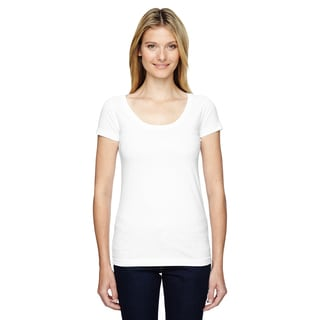 Juniors' Fine Jersey Deep Scoop Neck Longer Length T-Shirt White