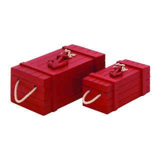 Red Wood/Rope 7-inch/10-inch Boxes (Set of 2)