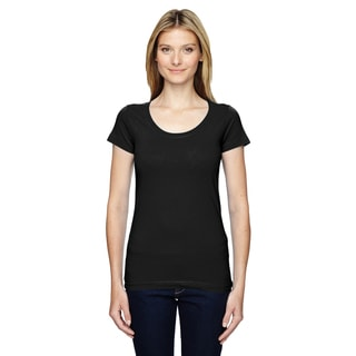 Juniors' Black, Fine Jersey, Deep-scoop Neck, Longer-length T-Shirt
