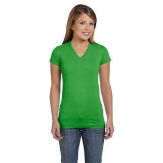 Juniors' Apple Fine Jersey V-neck Longer Length T-shirt