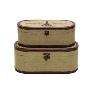 Burlap/Wood 14-inch and 16-inch Boxes (Set of 2)