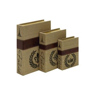 Brown Wooden Burlap Box (15,-inch 12,-inch and 9-inchH) Pack of 3