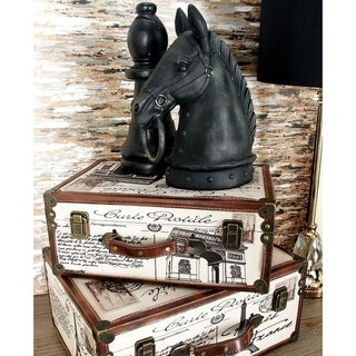 Wood and Leather Boxes (Set of 2)