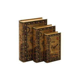 Wood/Leather 3-piece 13-, 11-, and 9-inch High Book Box Set