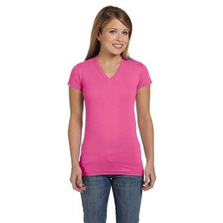 Juniors' Raspberry Fine Jersey V-neck Longer-length T-shirt