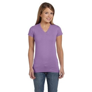 Juniors' Fine Lavender Jersey V-neck Longer Length T-shirt