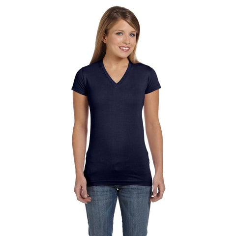 Juniors' Navy Fine Cotton Jersey V-neck Longer-length T-shirt