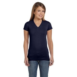 Juniors' Navy Fine Cotton Jersey V-neck Longer-length T-shirt