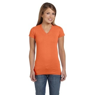 Juniors' Papaya Fine Jersey V-Neck Longer Length T-Shirt